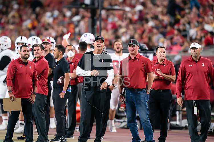 LOS ANGELES, CA - SEPTEMBER 11: Duane Akina during a game between University of Southern California and Stanford Football at Los Angeles Memorial Coliseum on September 11, 2021 in Los Angeles, California.