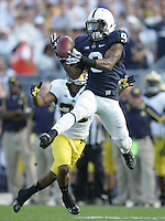 State College, PA - 10/12/2013:  PSU CB Jordan Lucas intercepts a pass during the first half.  Penn State defeated Michigan by a score of 43-40 in 4 overtimes on Saturday, October 12, 2013, at Beaver Stadium.<br /> <br /> Photos by Joe Rokita / JoeRokita.com