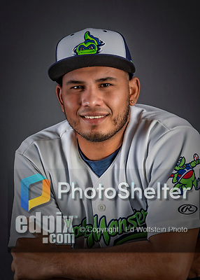 11 June 2019: Vermont Lake Monsters pitcher Jhenderson Hurtado poses for a portrait on Photo Day at Centennial Field in Burlington, Vermont. The Lake Monsters are the Single-A minor league affiliate of the Oakland Athletics and play a short season in the NY Penn League Stedler Division. Mandatory Credit: Ed Wolfstein Photo *** RAW (NEF) Image File Available ***