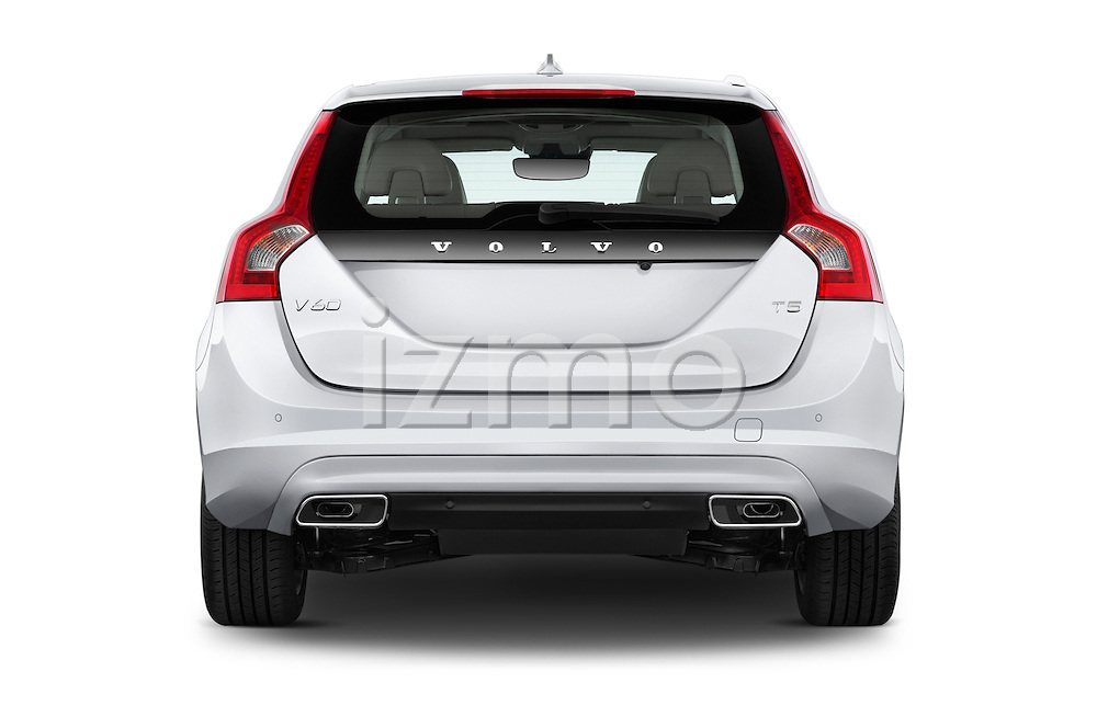 Straight rear view of 2018 Volvo V60 T5 5 Door Wagon Rear View  stock images