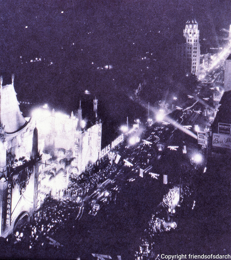 Los Angeles:  Opening of Grauman's Chinese Theatre in 1927.  The principal architect of the Chinese Theatre was Raymond M. Kennedy, of Meyer & Holler. 6925 Hollywood Blvd., Hollywood.