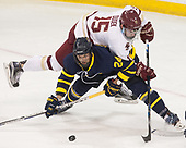 Tyler Drevitch (Merrimack - 24), JD Dudek (BC - 15) - The visiting Merrimack College Warriors defeated the Boston College Eagles 6 - 3 (EN) on Friday, February 10, 2017, at Kelley Rink in Conte Forum in Chestnut Hill, Massachusetts.