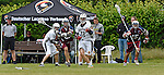 GER - Hannover, Germany, May 30: During the Men Lacrosse Playoffs 2015 match between ABV Stuttgart 1863 (white) and Berliner HC (purple) on May 30, 2015 at Deutscher Hockey-Club Hannover e.V. in Hannover, Germany. Final score 11:3. (Photo by Dirk Markgraf / www.265-images.com) *** Local caption ***