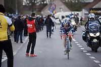 Kevin Van Melsen (BEL/Wanty-Groupe Gobert) leading the race solo with less then 20km to go<br /> <br /> 71st Dwars door Vlaanderen (1.HC)