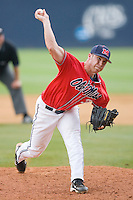 Relief pitcher Brett Huber #38 of the Ole Miss Rebels in action against the St. John's Red Storm at the Charlottesville Regional of the 2010 College World Series at Davenport Field on June 6, 2010, in Charlottesville, Virginia.  The Red Storm defeated the Rebels 20-16.  Photo by Brian Westerholt / Four Seam Images