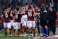 Calcio, Serie A: Roma vs ChievoVerona. Roma, stadio Olimpico, 31 ottobre 2013.<br /> AS Roma forward Marco Borriello, center, back to camera, n. 88, celebrates with teammates after scoring during the Italian Serie A football match between AS Roma and ChievoVerona at Rome's Olympic stadium, 31 October 2013.<br /> UPDATE IMAGES PRESS/Isabella Bonotto