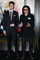 """HOLLYWOOD, LOS ANGELES, CA, USA - MARCH 04: Nick Simmons, Gene Simmons at the Los Angeles Premiere Of Warner Bros. Pictures And Legendary Pictures' """"300: Rise Of An Empire"""" held at TCL Chinese Theatre on March 4, 2014 in Hollywood, Los Angeles, California, United States. (Photo by Xavier Collin/Celebrity Monitor)"""