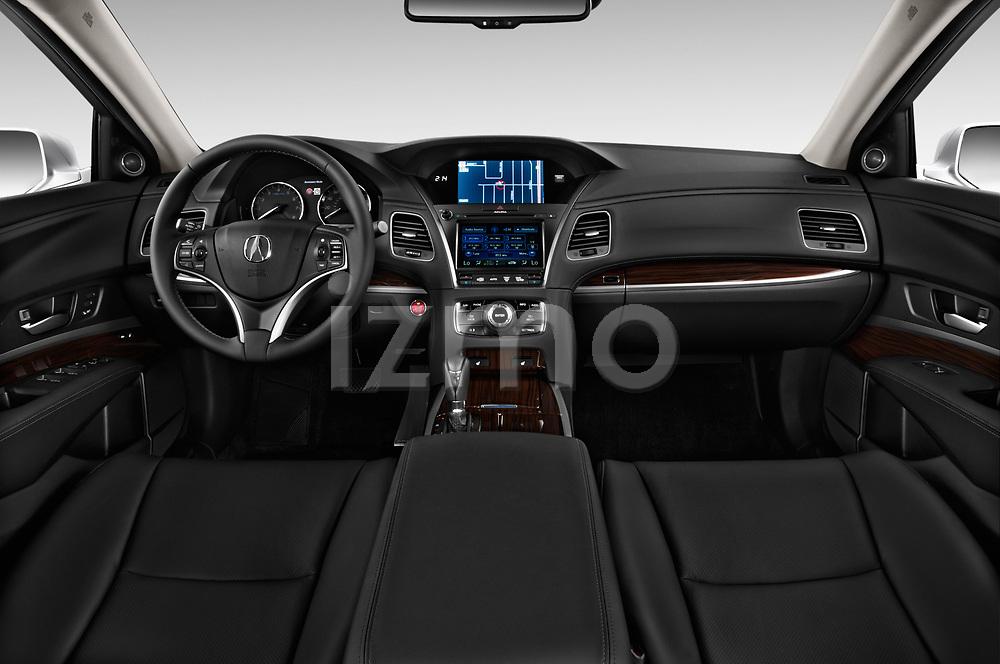 Stock photo of straight dashboard view of 2014-2016 Acura RLX Base 4 Door Sedan