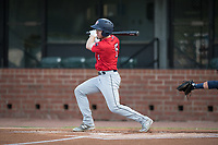 Jacksonville Jumbo Shrimp Brian Miller (5) at bat during a Southern League game against the Mobile BayBears on May 8, 2019 at Hank Aaron Stadium in Mobile, Alabama.  Jacksonville defeated Mobile 7-1.  (Mike Janes/Four Seam Images)