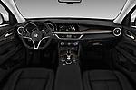 Stock photo of straight dashboard view of a 2018 Alfa Romeo Stelvio Ti 5 Door SUV