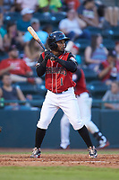 Yonny Hernandez (1) of the Hickory Crawdads at bat against the Kannapolis Intimidators at L.P. Frans Stadium on July 20, 2018 in Hickory, North Carolina. The Crawdads defeated the Intimidators 4-1. (Brian Westerholt/Four Seam Images)