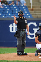 Umpire Chris Scott during a game between the Wilmington Blue Rocks and Lynchburg Hillcats on June 3, 2016 at Judy Johnson Field at Daniel S. Frawley Stadium in Wilmington, Delaware.  Lynchburg defeated Wilmington 16-11 in ten innings.  (Mike Janes/Four Seam Images)