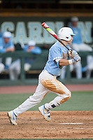 Brandon Riley (1) of the North Carolina Tar Heels follows through on his swing against the Kentucky Wildcats at Boshmer Stadium on February 17, 2017 in Chapel Hill, North Carolina.  The Tar Heels defeated the Wildcats 3-1.  (Brian Westerholt/Four Seam Images)