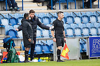 Harry Kewell, Manager of Oldham Athletic in the ear of the fourth official during Colchester United vs Oldham Athletic, Sky Bet EFL League 2 Football at the JobServe Community Stadium on 3rd October 2020