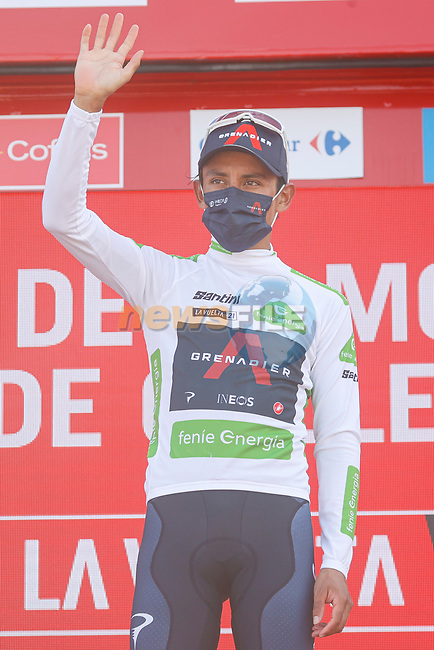 Egan Bernal (COL) Ineos Grenadiers retains the young riders White Jersey at the end of Stage 6 of La Vuelta d'Espana 2021, running 158.3km from Requena to Alto de la Montaña Cullera, Spain. 19th August 2021.    <br /> Picture: Luis Angel Gomez/Photogomezsport | Cyclefile<br /> <br /> All photos usage must carry mandatory copyright credit (© Cyclefile | Luis Angel Gomez/Photogomezsport)