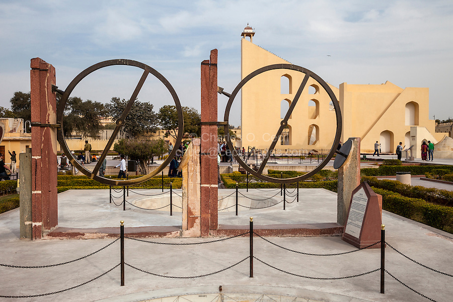 Jaipur, Rajasthan, India.  Jantar Mantar, an 18th-century Site for Astronomical Observations, now a World Heritage Site. This is the Chakra Yantra, Celestial Observation Instruments for finding the ascension and declination of a planet or celestial body at night.