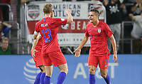 ORLANDO, FL - NOVEMBER 15: Aaron Long #3 of the United States scores a goal and celebrates with teammate Tim Ream #13 during a game between Canada and USMNT at Exploria Stadium on November 15, 2019 in Orlando, Florida.