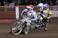 Heat 15: Justin Sedgmen (red), Scott Nicholls (blue) and Jason Crump (white) - Lee Richardson Memorial Speedway Meeting at Arena Essex Raceway, Purfleet - 28/09/12 - MANDATORY CREDIT: Gavin Ellis/TGSPHOTO - Self billing applies where appropriate - 0845 094 6026 - contact@tgsphoto.co.uk - NO UNPAID USE.