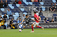 SAINT PAUL, MN - MAY 15: Ethan Finlay #13 of Minnesota United FC kicks the ball during a game between FC Dallas and Minnesota United FC at Allianz Field on May 15, 2021 in Saint Paul, Minnesota.
