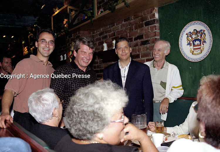 Montreal. CANADA -   August 28,1998  File Photo -  Jean Dore and . sammy Forcillo, Martin Lemay meet people at his annual supper.<br /> <br /> File Photo : Agence Quebec Pressse