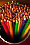 Pencils MultiColored in Bundles Close-Up of Colored Tips