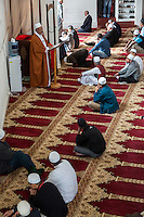 South Africa, Cape Town.  A Visiting Imam gives the Friday Sermon before Prayers at the Al-Azhar Mosque.