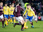 Hearts v St Johnstone…..14.12.19   Tynecastle   SPFL<br />Matty Kennedy takes on Aaron Hickey<br />Picture by Graeme Hart.<br />Copyright Perthshire Picture Agency<br />Tel: 01738 623350  Mobile: 07990 594431