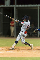AZL Indians 2 third baseman Brayan Rocchio (24) swings at a pitch during an Arizona League game against the AZL Cubs 2 at Sloan Park on August 2, 2018 in Mesa, Arizona. The AZL Indians 2 defeated the AZL Cubs 2 by a score of 9-8. (Zachary Lucy/Four Seam Images)