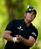 PGA golfer Phil Mickelson watches a drive during the 2008 Wachovia Championships at Quail Hollow Country Club in Charlotte, NC.
