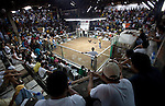 Spectators gamble and make bets as they watch a bloody cock fight between two roosters, bred for the sport, that have three inch blades strapped to their legs, in a stadium in city of Dumaguete on Negros Island, Philippines.
