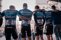 At the start in Leuven, Team Vérandas Willems-Crelan line up to honour their teammate Michael Goolaerts (BEL), who died of a cardiac arrest just days earlier during Paris-Roubaix.<br /> All teammates ride with an armband with Goolaerts' name on it.<br /> For the rest of the season , the team will be riding #ALL4GOOLIE to honour and remember him.<br /> <br /> 58th De Brabantse Pijl 2018 (1.HC)<br /> 1 Day Race: Leuven - Overijse (BEL/202km)