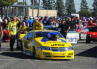 Feb. 9, 2012; Pomona, CA, USA; NHRA pro stock driver Jeg Coughlin during qualifying at the Winternationals at Auto Club Raceway at Pomona. Mandatory Credit: Mark J. Rebilas-