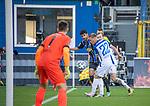 Thore Jacobsen (weiss, 22) und Hamza Saghiri (blauschwarz) kämpfen um den Ball beim Spiel in der 3. Liga, SV Waldhof Mannheim - 1. FC Magdeburg.<br /> <br /> Foto © PIX-Sportfotos *** Foto ist honorarpflichtig! *** Auf Anfrage in hoeherer Qualitaet/Aufloesung. Belegexemplar erbeten. Veroeffentlichung ausschliesslich fuer journalistisch-publizistische Zwecke. For editorial use only. DFL regulations prohibit any use of photographs as image sequences and/or quasi-video.