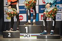 Men's Elite podium<br /> <br /> UCI 2016 cyclocross World Championships,<br /> Zolder, Belgium