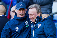 Middlesbrough manager Tony Pulis and Cardiff City manager Neil Warnock ahead of the Sky Bet Championship match between Cardiff City and Middlesbrough at the Cardiff City Stadium, Cardiff, Wales on 17 February 2018. Photo by Mark Hawkins / PRiME Media Images.