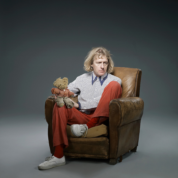 © John Angerson.<br /> Artist Grayson Perry with his childhood teddy bear called Alan Mealses.