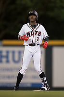Modesto Nuts designated hitter Kyle Lewis (2) stands on second base after hitting a double during a California League game against the Lake Elsinore Storm at John Thurman Field on May 12, 2018 in Modesto, California. Lake Elsinore defeated Modesto 4-1. (Zachary Lucy/Four Seam Images)