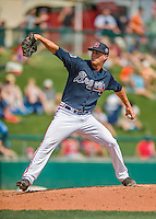 14 March 2016: Atlanta Braves pitcher Evan Rutckyj, on the mound during a Spring Training pre-season game against the Tampa Bay Rays at Champion Stadium in the ESPN Wide World of Sports Complex in Kissimmee, Florida. The Braves shut out the Rays 5-0 in Grapefruit League play. Mandatory Credit: Ed Wolfstein Photo *** RAW (NEF) Image File Available ***