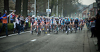 Scheldeprijs 2012..peloton entering Schoten for 1st time