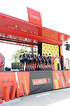 Team DSM best team from yesterday's stage at sign on before the start of Stage 8 of La Vuelta d'Espana 2021, running 173.7km from Santa Pola to La Manga del Mar Menor, Spain. 21st August 2021.     <br /> Picture: Cxcling | Cyclefile<br /> <br /> All photos usage must carry mandatory copyright credit (© Cyclefile | Cxcling)
