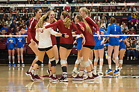 STANFORD, CA - NOVEMBER 17: Stanford, CA - November 17, 2019: Kathryn Plummer, Jenna Gray, Meghan McClure, Audriana Fitzmorris, Holly Campbell, Morgan Hentz at Maples Pavilion. #4 Stanford Cardinal defeated UCLA in straight sets in a match honoring neurodiversity. during a game between UCLA and Stanford Volleyball W at Maples Pavilion on November 17, 2019 in Stanford, California.