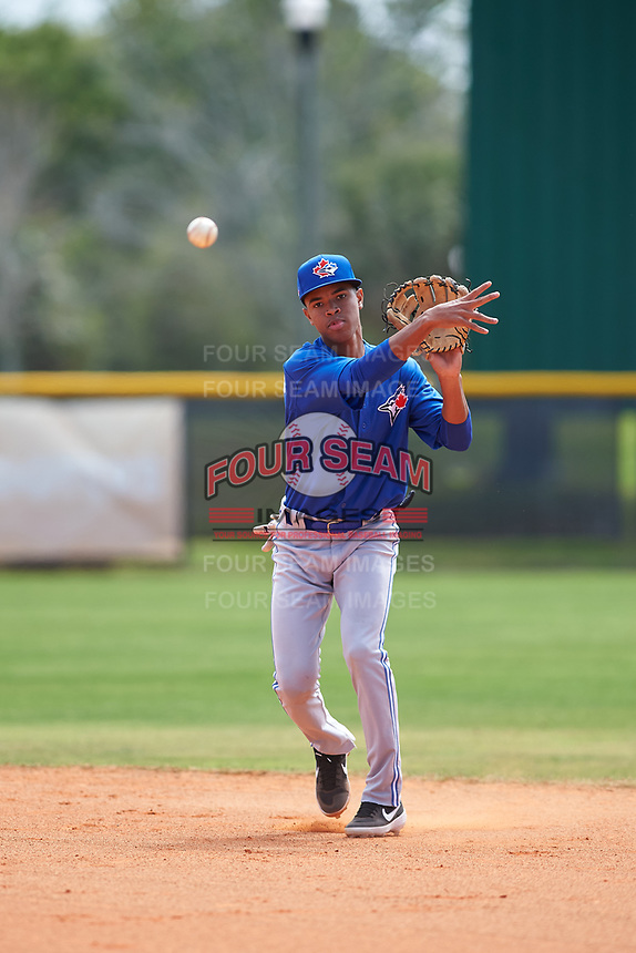 Toronto Blue Jays Angel Del Rosario (62) throws to first base during practice before an exhibition game against the Canada Junior National Team on March 8, 2020 at Baseball City in St. Petersburg, Florida.  (Mike Janes/Four Seam Images)