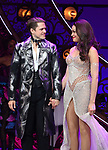 """Aaron Tveit and Karen Olivo during the Broadway Opening Night performance Curtain Call bows for """"Moulin Rouge! The Musical"""" at the Al Hirschfeld Theatre on July 25, 2019 in New York City."""