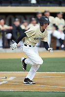 D.J. Poteet (4) of the Wake Forest Demon Deacons hustles down the first base line against the Louisville Cardinals at David F. Couch Ballpark on March 18, 2018 in  Winston-Salem, North Carolina.  The Demon Deacons defeated the Cardinals 6-3.  (Brian Westerholt/Four Seam Images)