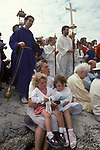 Blessing the Sea Hastings Sussex UK.  Annual ceremony on the Wednesday before Ascension Day. Processing from St Clements Church to harbour. 1990s UK