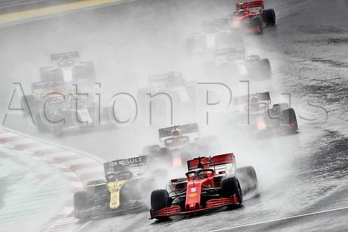 15th November 2020; Istanbul Park, Istanbul, Turkey; FIA Formula One World Championship 2020, Grand Prix of Turkey, Race Day;  5 Sebastian Vettel GER, Scuderia Ferrari Mission Winnow, 3 Daniel Ricciardo AUS, Renault DP World F1 Team