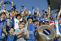 Earthquakes fans celebrate after Quakes won the MLS Cup at Home Depot Center in Carson, California on November 22nd, 2003.   Earthquakes defeated Fire 4-2 for the MLS Cup.