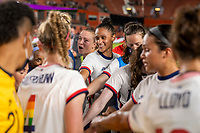 HOUSTON, TX - JUNE 10: Emily Sonnett #14 and Lynn Williams #6 of the USWNT huddle with the team after a game between Portugal and USWNT at BBVA Stadium on June 10, 2021 in Houston, Texas.