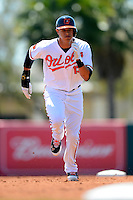 Baltimore Orioles third baseman Manny Machado #13 during a Spring Training game against the New York Mets at Ed Smith Stadium on March 30, 2013 in Sarasota, Florida.  (Mike Janes/Four Seam Images)