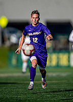 5 October 2019: University at Albany Great Dane Midfielder Niklas Roessler, a Junior from Stuttgart, Germany, in action against the University of Vermont Catamounts at Virtue Field in Burlington, Vermont. The Catamounts fell to the visiting Danes 3-1 in America East, Division 1 play. Mandatory Credit: Ed Wolfstein Photo *** RAW (NEF) Image File Available ***